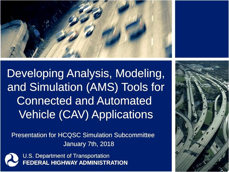 Analysis Modeling and Simulation Overview FHWA