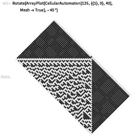 Rotate[ArrayPlot[CellularAutomaton[135, ,,40],Mesh-&gtTrue],-45 Degree]