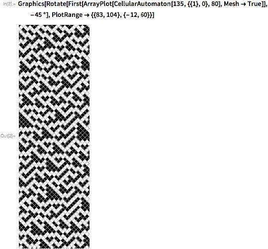 Graphics[Rotate[First[ArrayPlot[CellularAutomaton[135, ,,80],Mesh-&gtTrue]],-45 Degree], PlotRange->,]